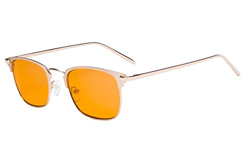 - Eyekepper Computer Eyeglasses - Nighttime Eyewear, Blue Light Blocking, Eye Strain Relief - Memory Titanium Bridge - Large Frame (Gold, 0.00)