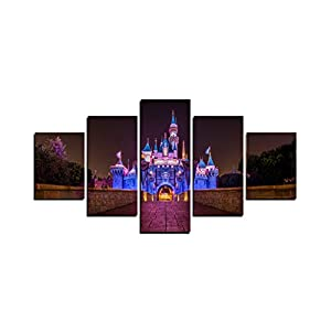 ZAD Disney Castle Canvas Prints 5 Piece Wall Art Home Decoration Painting Printed