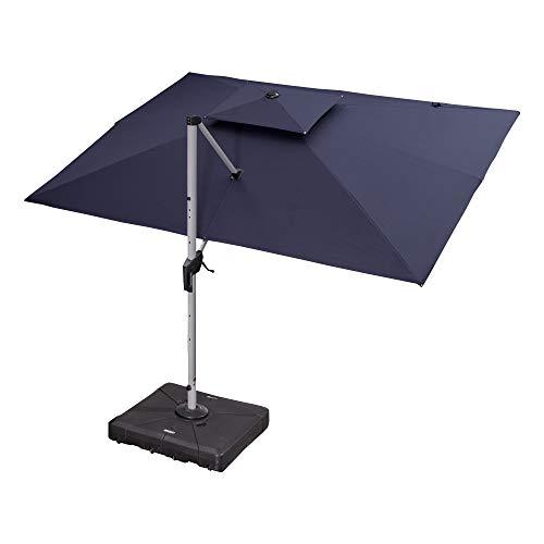PURPLE LEAF 9' X 12' Double Top Deluxe Rectangle Patio Umbrella Offset Hanging Umbrella Outdoor Market Umbrella Garden Umbrella, Navy Blue (Commercial Umbrellas Offset Patio)
