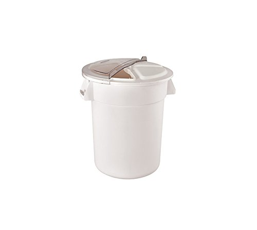 Winco FCW-32, 32-Gallon Heavy Duty White Polypropylene Container with Rotating Lid, Food Storage, Trash Bin