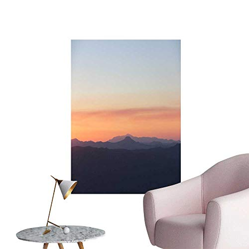 SeptSonne Wall Stickers for Living Room A Mountain Range in The Evening Vinyl Wall Stickers Print,20