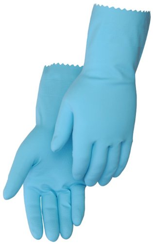 Liberty 2870BSL Latex Household Liquid Proof Unsupported Glove with Flock Lined, Chemical Resistant, 18 mil Thickness, 12'' Length, Medium, Blue (Pack of 12)