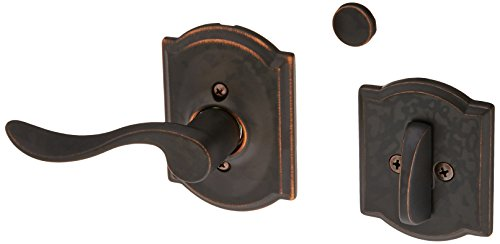 Schlage Lock Company F94ACC716CAMLH Accent Lever Left Handed Dummy Interior Pack with Deadbolt, Aged Bronze