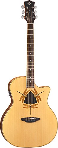 Luna Oracle Series Dragonfly Solid Top Folk Cutaway Acoustic-Electric Guitar - (Dragonfly Acoustic Bass)