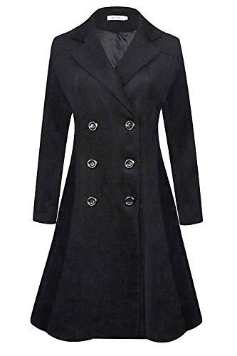 APTRO Women's Double Breasted Hemlines Wool Coat Long Winter Coats WS02 Black S (Black Women Winter Coat)