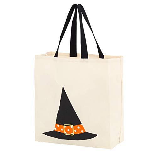 Custom Personalized Halloween Bag Trick or Treat Tote Storage Pumpkin Witch Monster Princess (Blank - Witch Hat)