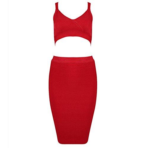 HLBCBG Schwarz Schwarz Schwarz Rot Damen Kleid rwxUqrC0