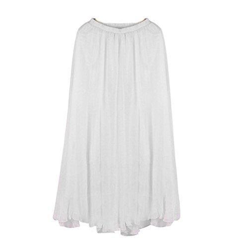 Maxi white Fulltime mousseline Dress soie en taille Femmes lastique longue de HHWq8vRnZ