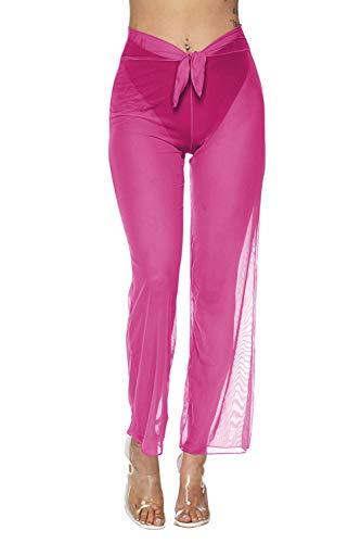 COCOLEGGINGS Women's Front Tie Sheer Mesh Beach Coverups Pants Rose Red S
