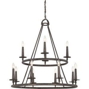 Malaga Finish Chandeliers (Quoizel VYR5012ML Voyager with Malaga Finish, Two Tier Chandelier and 12 Lights, Brown by Quoizel)