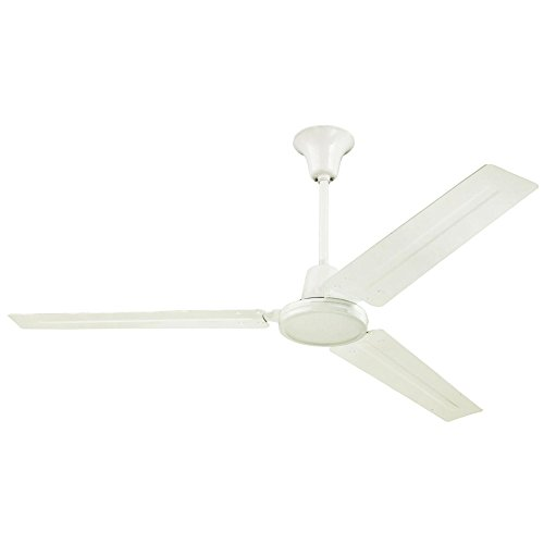 7840900 Industrial 56-Inch Three-Blade Indoor Ceiling Fan, White with White Steel - White Ceiling Blade