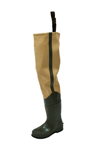 Frogg Toggs Bull Frogg 3-ply PVC Canvas Bootfoot Hip Wader, Cleated Outsole, Khaki, Size 10