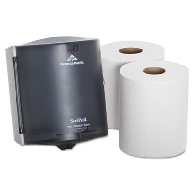 SofPull Centerpull Regular Capacity Paper Towel Dispenser Trial Kit by GP PRO, 58205, 1 Dispenser (58204) & 2 Centerpull Paper Towel Rolls, ()