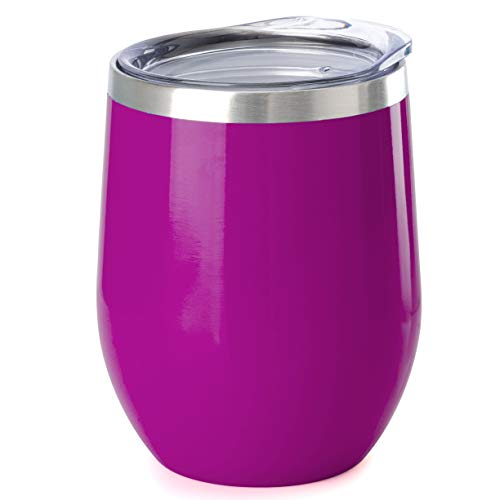 Glass Insulation - ONEB Stainless Steel Stemless Wine Glass Tumbler with Lid, 12 oz   Double Wall Vacuum Insulated Travel Tumbler Cup for Coffee, Wine, Cocktails, Wall Vaccum Insulation cup (purple1)