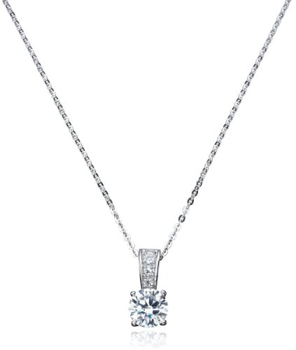 CRISLU Necklace, Platinum over Sterling Silver Cubic Zirconia Pendant (2 ct. ()