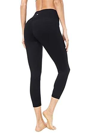 "QUEENIEKE Women 22"" Yoga Capris Power Flex Running Pants Workout Leggings(XS, Black)"