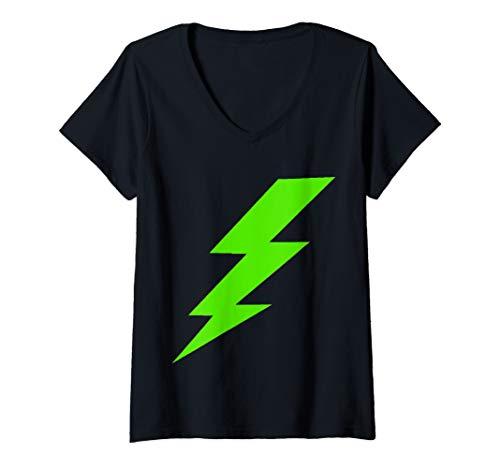 - Womens Green Lightning Bolt  V-Neck T-Shirt