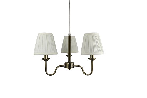Urbanest Portable Shire 3-Light Chandelier with Eggshell Mushroom Pleated Shades, Antique Brass Finish