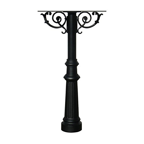 3l Post Cast - The Hanford Cast Aluminum Triple Mailbox Post System with Fluted Base, Mounting Brackets and Scroll Supports, Mailboxes Sold Separately, Ships in 2 boxes