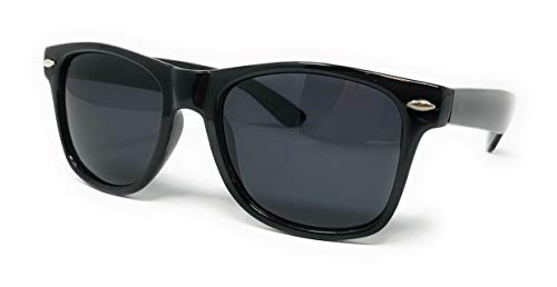 Sunglasses Classic 80's Vintage Style Design (Black Gloss Polarized, Smoke)... (Polarisierte Wayfarer)