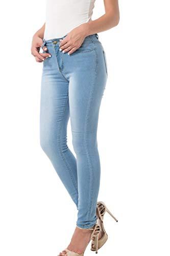 Fit Alta Básica Jeans Cintura Denim Azul para Pantalones Mujeres Skinny Slim qWznxUptt