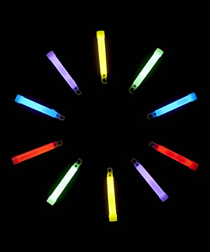 Industrial Grade Glow Sticks, Ultra Bright Illumination Safety Chemical Light Sticks with +12 Hours Duration for Parties (10pack, 4'' or 6'', Multi color)