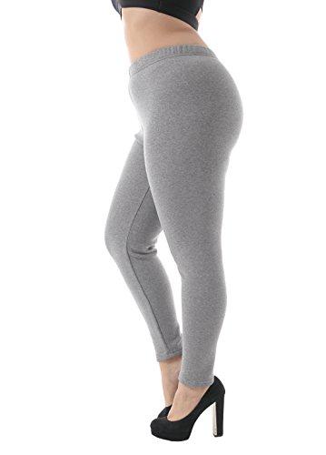 Zerdocean Women's Plus Size 100% Cotton Fleece Lining Leggings Light Gray (Light Fleece Lining)