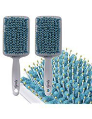 - 2 Pack Goody Quikstyle Microfiber Paddle No Tangle Hair Brushes Set For Detangling & Drying