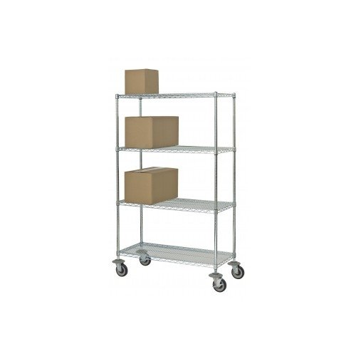 Focus Foodservice FMK1836694CH Mobile Stem Caster Cart, 4 Shelf, 18'' x 36'' x 63'', 69'' Overall Height, Chromate Finish