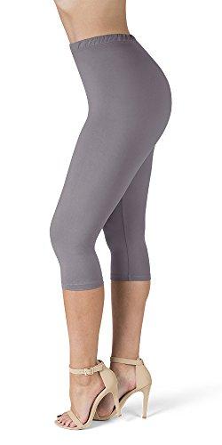 SATINA High Waisted Ultra Soft Capris Leggings - 20 Colors - Reg & Plus Size (Plus Size, Lilac Gray)