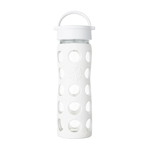 Lifefactory 16-Ounce BPA-Free Glass Water Bottle with Leakproof Classic Cap and Silicone Sleeve, Optic White
