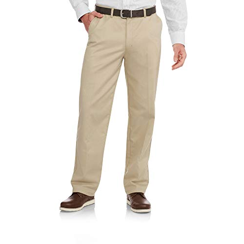 George Men's Flat-Front Wrinkle-Resistant Dress Pants (44x32, Barley)