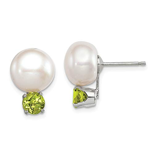 925 Sterling Silver 11mm Freshwater Cultured Button Pearl Green Peridot Post Stud Earrings Ball Fine Jewelry Gifts For Women For Her