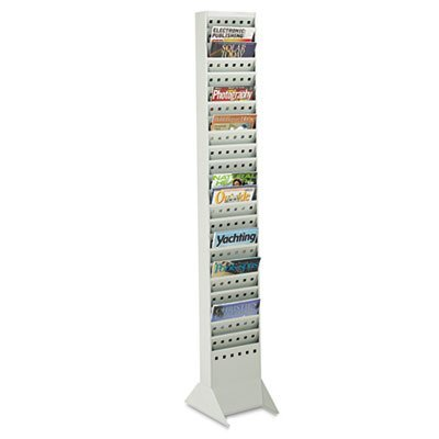 Steel Magazine Rack, 23 Compartments, 10w x 4d x 65-1/2h, Gray, Sold as 1 Each ()