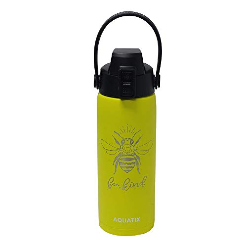 Bee Kind - Aquatix Laser Engraved 21oz Sports Bottle (Lemon Yellow), Pure Stainless Steel Double Walled Insulation - Keeps Drinks Cold 24 hr/Hot 6 hr