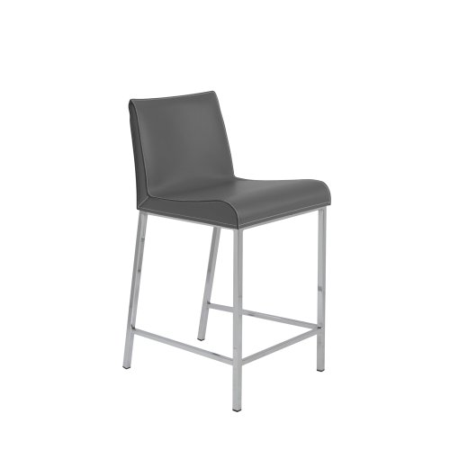Cam-C Counter Stool in Gray & Chrome [Set of 2]