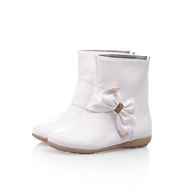 Botas de mujer invierno Comfort polipiel vestir casual tacón bajo Bowknot Zipper White
