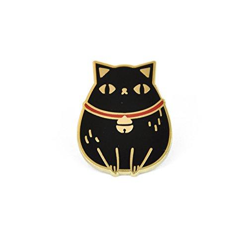 Black Enamel Cat Pin - Noristudio Black Cat Enamel Pin