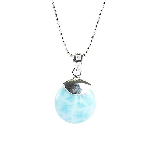 925 Sterling Silver Larimar Pendant Necklace Round Natural Genuine Fashion Blue Gemstones Handmade Larimar Pendant Jewelry for Women and Girls Classic Necklace with 18