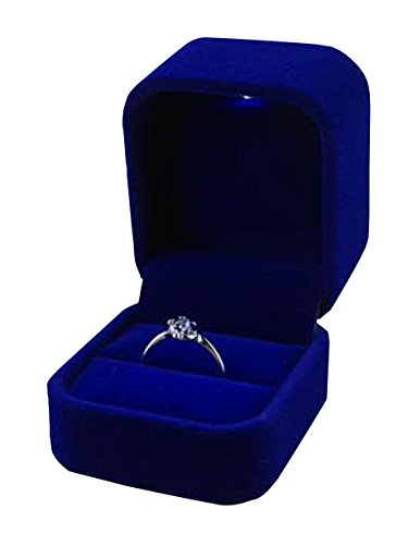 Arbor Home Velvet Jewellery Box With Led Light Jewelry Ring Holder Earrings Gift Boxes Jewelry Display Cutely Small Case (Blue) from Arbor Home