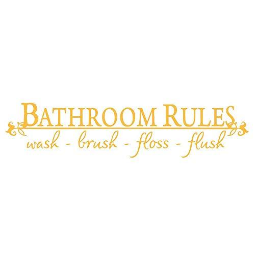 Kirbyates Barhroom Rules Wash Brush Floss Flush Ceative Prompt Quotation Wall Sticker for Bathroom Vinyl Decals ()
