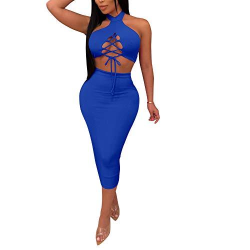 Womens Sexy 2 Piece Club Dress - Halter Neck Bandage Lace Up Crop Tops + Bodycon Pencil Midi Skirts Sets Clubwear Blue M ()