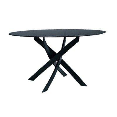 Bontempi Casa Barone Contemporary Table w Round Clear Glass Top 131788