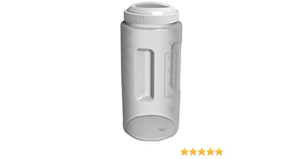 FS9008 Paquete de Seis Cuatro Quart de un galón de plástico Alimentos frasco con tapa blanca -...