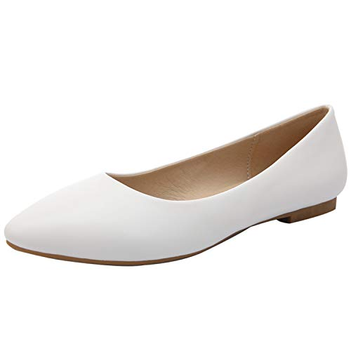 Be fearless 2019 New Women Shoes Flat Leather Platform Heels Shoes White Women Pointed Toe Leather Girl Flats Shoes,White,4