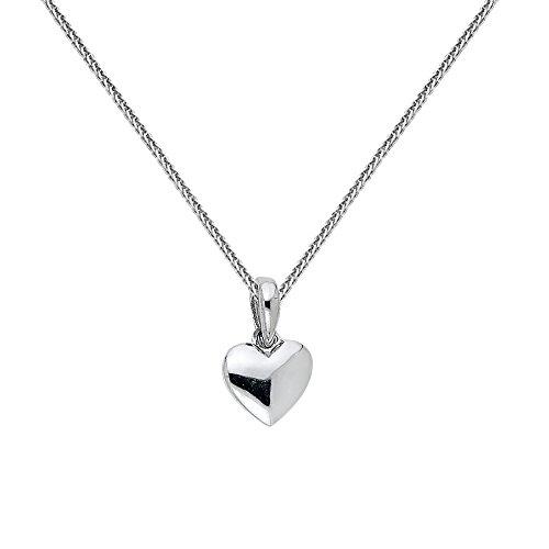 - Precious Stars Jewelry 14k White Gold Tiny Puffed Heart Pendant 0.8-mm White Gold Square Wheat Chain