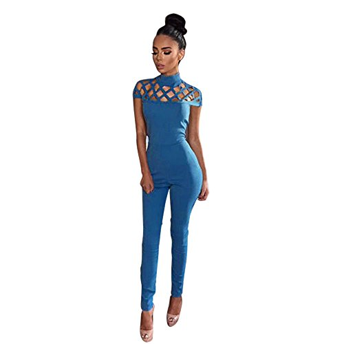 Kinghard Womens Choker High Neck Caged Sleeve Playsuits Long Jumpsuits (S, Blue) (Dance Jumpsuit Costumes)