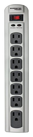 Metal Seven Power Outlet Strip (MONSTR 7OUT MTL SURG GRY by MONSTER MfrPartNo 614-7OUTSURGMET)