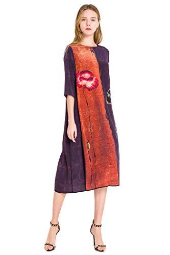 VOA Purple Orange Tie-dye Ink Painting Loose Waist Stretch Mulberry Silk Dress