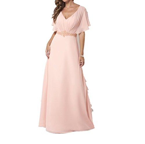 La_Marie Braut Rosa V-ausschnitt Anmutig Steine Abendkleider Brautjungfernkleider Partykleider Lang A-linie Rock